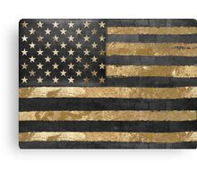 American Flag Gold and Black  Canvas Print