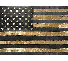 American Flag Gold and Black  Photographic Print
