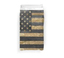 American Flag Gold and Black  Duvet Cover