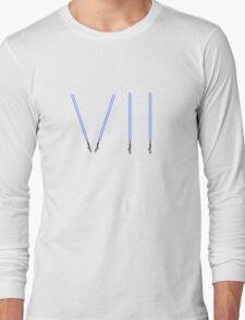 Star Wars The Force Awakens (Episode Seven) VII Blue Lightsaber Long Sleeve T-Shirt