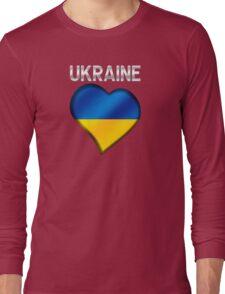 Ukraine - Ukrainian Flag Heart & Text - Metallic Long Sleeve T-Shirt