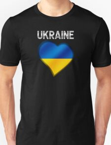 Ukraine - Ukrainian Flag Heart & Text - Metallic Unisex T-Shirt