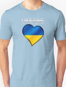 Ukraine - Ukrainian Flag Heart & Text - Metallic Unisex T-Shirt