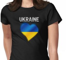 Ukraine - Ukrainian Flag Heart & Text - Metallic Womens Fitted T-Shirt