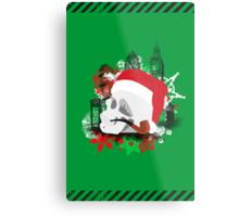 Skull Christmas - Green Metal Print