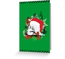 Skull Christmas - Green Greeting Card