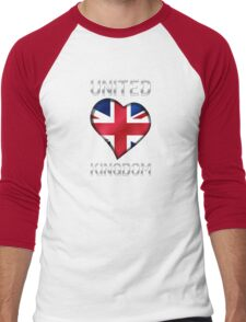 United Kingdom - British Flag Heart & Text - Metallic Men's Baseball ¾ T-Shirt