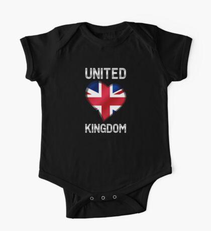 United Kingdom - British Flag Heart & Text - Metallic One Piece - Short Sleeve
