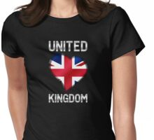 United Kingdom - British Flag Heart & Text - Metallic Womens Fitted T-Shirt