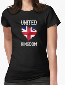 United Kingdom - British Flag Heart & Text - Metallic T-Shirt