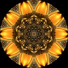 Golden Digital Flower Kaleidoscope 06 by fantasytripp