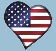 American Flag - USA - Heart Kids Tee