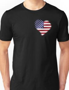 American Flag - USA - Heart Unisex T-Shirt