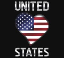 United States - American Flag Heart & Text - Metallic by graphix