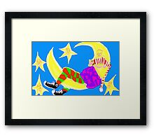 Sleeping On The Moon Surrounded By Stars Framed Print
