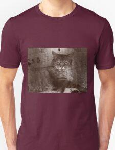 Tabby Cat Relaxing, Sepia, Grunge Unisex T-Shirt