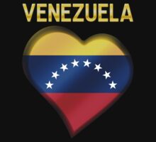 Venezuela - Venezuelan Flag Heart & Text - Metallic One Piece - Long Sleeve