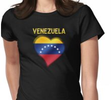 Venezuela - Venezuelan Flag Heart & Text - Metallic Womens Fitted T-Shirt