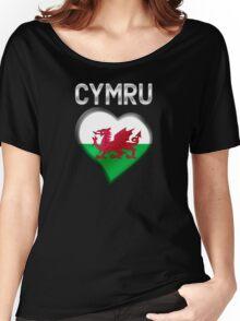 Cymru - Welsh Flag Heart & Text - Metallic Women's Relaxed Fit T-Shirt