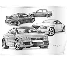 AUDI TT, Rover 220 Coupe Turbo, Escort Mk4 RS Turbo Poster