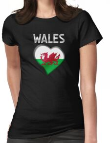 Wales - Welsh Flag Heart & Text - Metallic Womens Fitted T-Shirt
