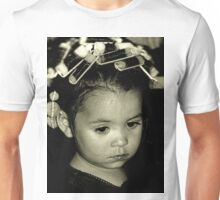 Tired Young Girl with Curlers in Hair Unisex T-Shirt