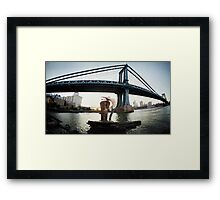Yoga by Manthattan Bridge, Brooklyn New York Framed Print