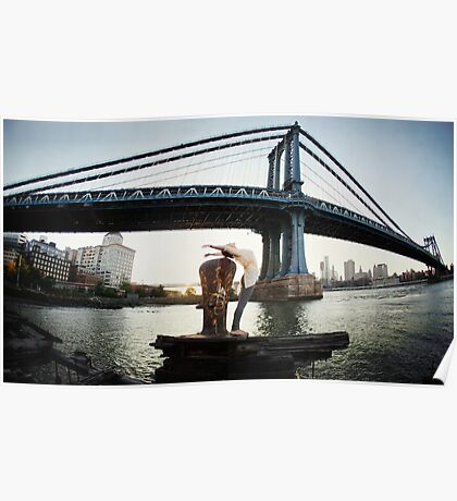 Yoga by Manthattan Bridge, Brooklyn New York Poster