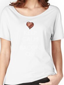 Keep Calm Put Bacon On - Red Women's Relaxed Fit T-Shirt