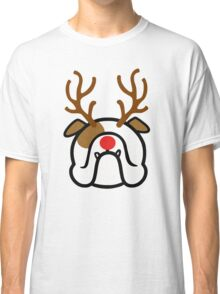 English Bulldog Holiday dog with reindeer antlers Classic T-Shirt