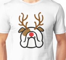 English Bulldog Holiday dog with reindeer antlers Unisex T-Shirt