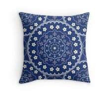 Navy Blue White Boho Mandala Design Throw Pillow