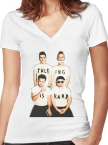Talking Is Hard Album Cover Women's Fitted V-Neck T-Shirt