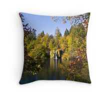 The waterfall between the trees Throw Pillow