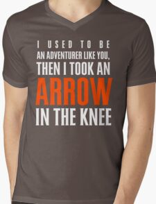 Arrow in the Knee - Text Only Mens V-Neck T-Shirt