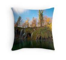 The lake and the waterfalls Throw Pillow