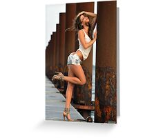 Sexy fashion model posing pretty at rusty boat marina Greeting Card