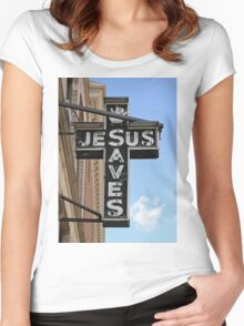 Jesus Saves Sign Women's Fitted Scoop T-Shirt