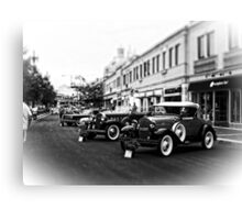 Vintage, Antique Cars on Display, Black and White Canvas Print