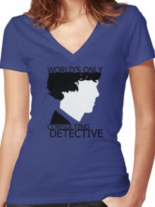 World's Only Consulting Detective Women's Fitted V-Neck T-Shirt