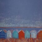 pastel beach huts (version of a work by Mark Leach) by Annie Wise