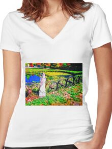 Rustic Wheels with Spokes Fence, Hyper Realism, Color Women's Fitted V-Neck T-Shirt