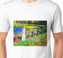 Rustic Wheels with Spokes Fence, Hyper Realism, Color Unisex T-Shirt