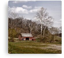 Red Barn White Trees Canvas Print