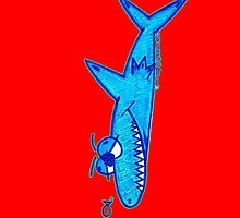 Sharky On Red: iPhone Case by Sammy Nuttall