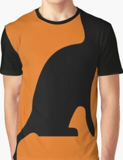 Halloween Black Cat Smooth Silhouette Graphic T-Shirt