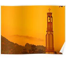 Honzan Belltower Morning Autumn Mist Poster
