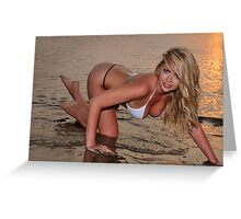 beautiful full body blond busty woman posing sexy on golden sunset beach Greeting Card