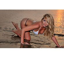 beautiful full body blond busty woman posing sexy on golden sunset beach Photographic Print