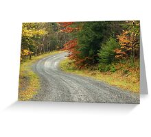 Empty forest road curve at autumn time  Greeting Card